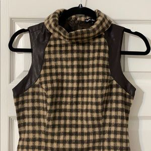 Vintage look wool drop waist dress houndstooth sm